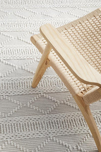 Clara Flat Woven Wool Rug in Ivory
