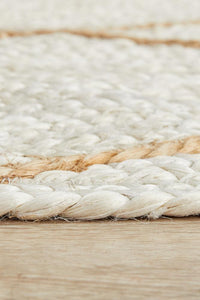 Brunswick Diamond Pattern Jute Runner Rug in Bleached Sand
