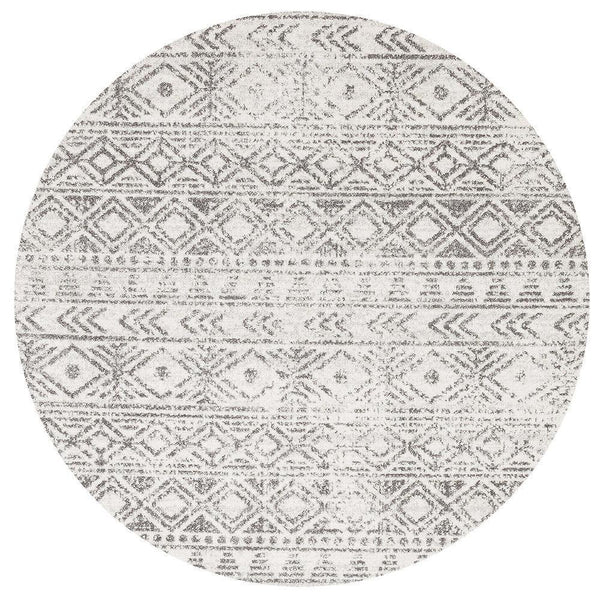 Oasis Ismail White Grey Rustic Round Rug