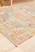 Marseille Traditional Distressed Runner Rug in Blue and Peach