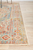 Marseille Traditional Distressed Rug in Blue and Peach