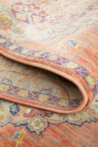 Marseille Traditional Distressed Runner Rug in Terracotta