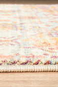 Marseille Traditional Distressed Runner Rug in Blue, Burgundy & Tangerine