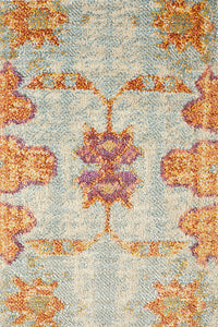 Marseille Traditional Distressed Rug in Blue, Burgundy & Tangerine