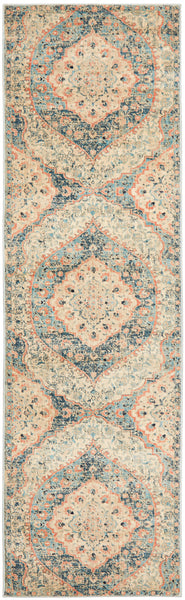 Marseille Traditional Distressed Runner Rug in Blue and Apricot