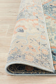 Marseille Traditional Distressed Rug in Blue and Apricot