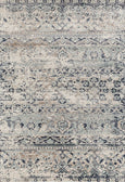 Provence Segmented Floral Pattern Rug in Charcoal, Beige & Navy