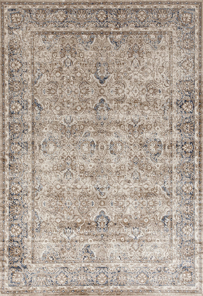 Provence Ballad Floral Motif Traditional Rug in Cream & Bronze