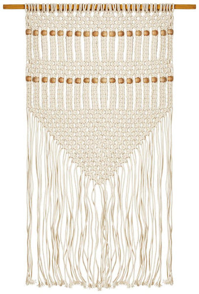 Freja Macrame Fringed Wall Hanging in Natural