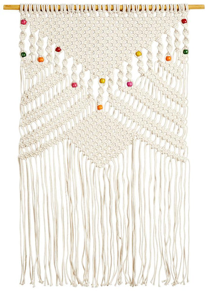Svea Macrame Beaded Wall Hanging in Natural