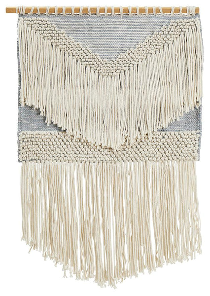 Bohemian Fringed Wall Hanging in Grey