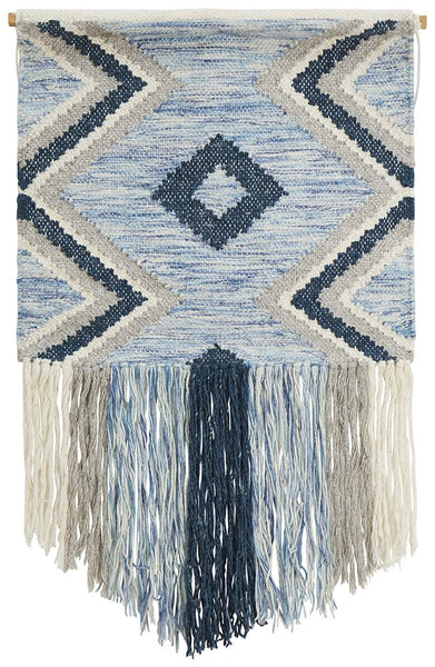 Alina Coastal Fringed Wall Hanging in Blue