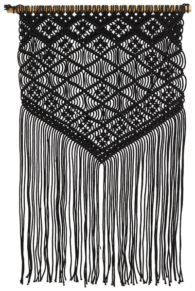 Bohemian Macrame Wall Hanging in Black
