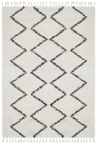 Amira Zig Zag Moroccan Rug in Black and White