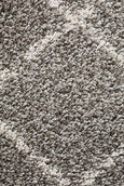 Amira Moroccan Runner Rug in Grey & White