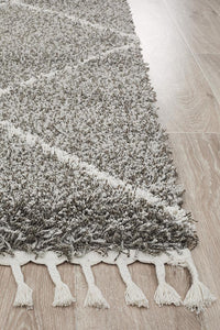 Amira Moroccan Rug in Grey & White