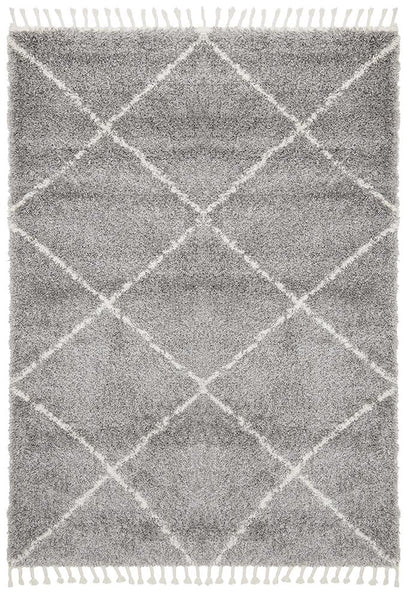 Amira Moroccan Rug in Silver Grey & White