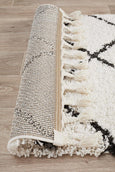 Amira Moroccan Runner Rug in Black and White