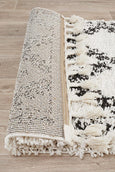 Aliyah Moroccan Trellis Runner Rug in Black & White