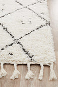 Atlas Moroccan Runner Rug in Black and White
