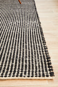 Lagom Hand Woven Wool Rug in Black