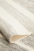 Lissome Flat Woven Wool Striped Rug in Natural Grey