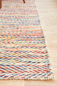 Heidi Chevron Pattern Flat Woven Wool Rug in Multi Colour