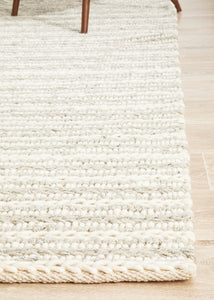 Hygge Grey and Cream Thick Braided Wool Rug