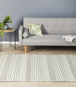 Mysig Thick Braided Striped Wool Rug in Grey and Cream