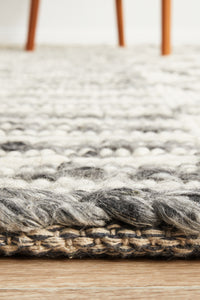 Mysa Hand Braided Wool Rug in Grey