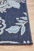 Hummingbird Floral Outdoor Rug in Navy & White