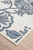 Hummingbird Floral Outdoor Rug in Blue & White