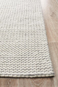 Aluna Hand Woven Felted Wool Rug in Striped Grey and White
