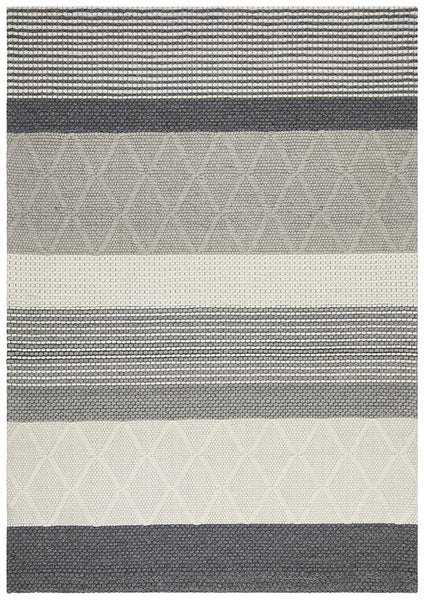Belle Textured Wool Rug in Grey & Ivory Tones