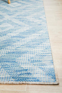 Mallorca Blue Diamond Pattern Indoor Outdoor Rug