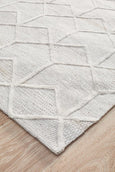 Alpine Winter Geometric Hand Loomed Textured Rug