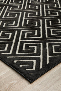 New York Art Deco Pattern Rug in Black & Ivory