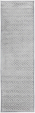 New York Art Deco Pattern Rug in Silver