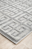 New York Art Deco Tessellate Runner Rug in Silver