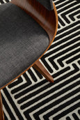 New York Linea Pattern Rug in Black & Ivory
