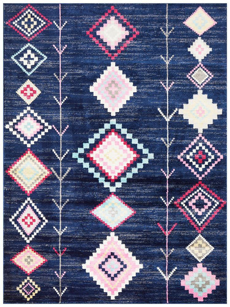 Marrakesh Navy Blue Diamond Rug