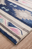 Acapulco Ikat Tribal Rug in Navy