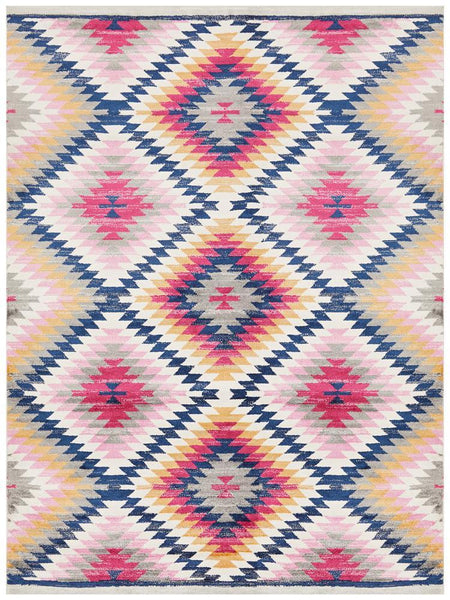 Tulum Diamond Pattern Tribal Rug in Multi Colour