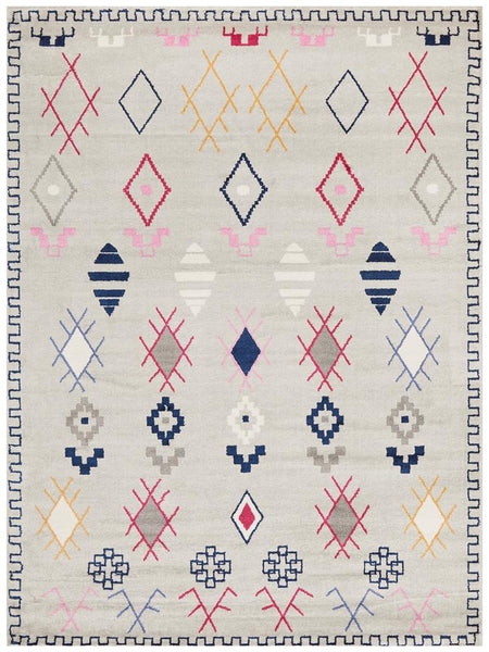 Marrakesh Grey Multi Tribal Patterned Rug