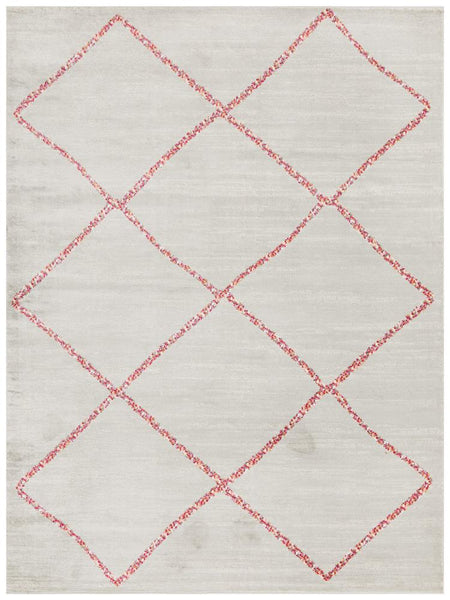 Marrakesh Silver & Pink Diamond Patterned Rug