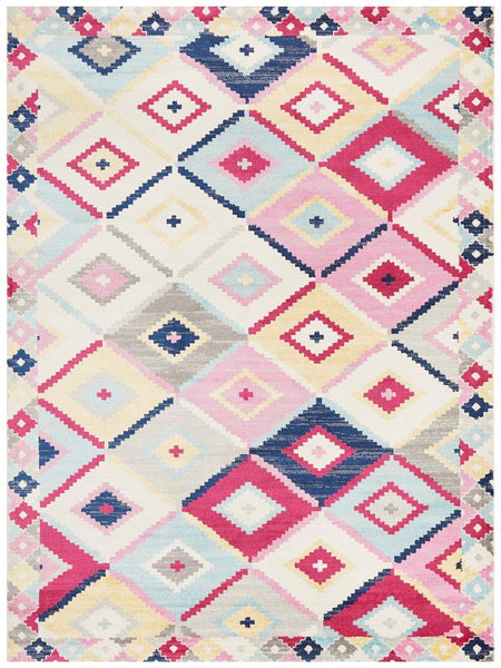 Tulum Pastel Diamond Pattern Tribal Rug