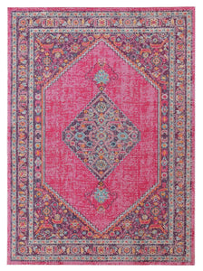 Azalea Distressed Floral Medallion Rug in Pink