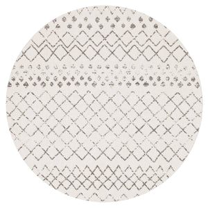 Faro Tribal Pattern Round Rug in Dark Grey and White