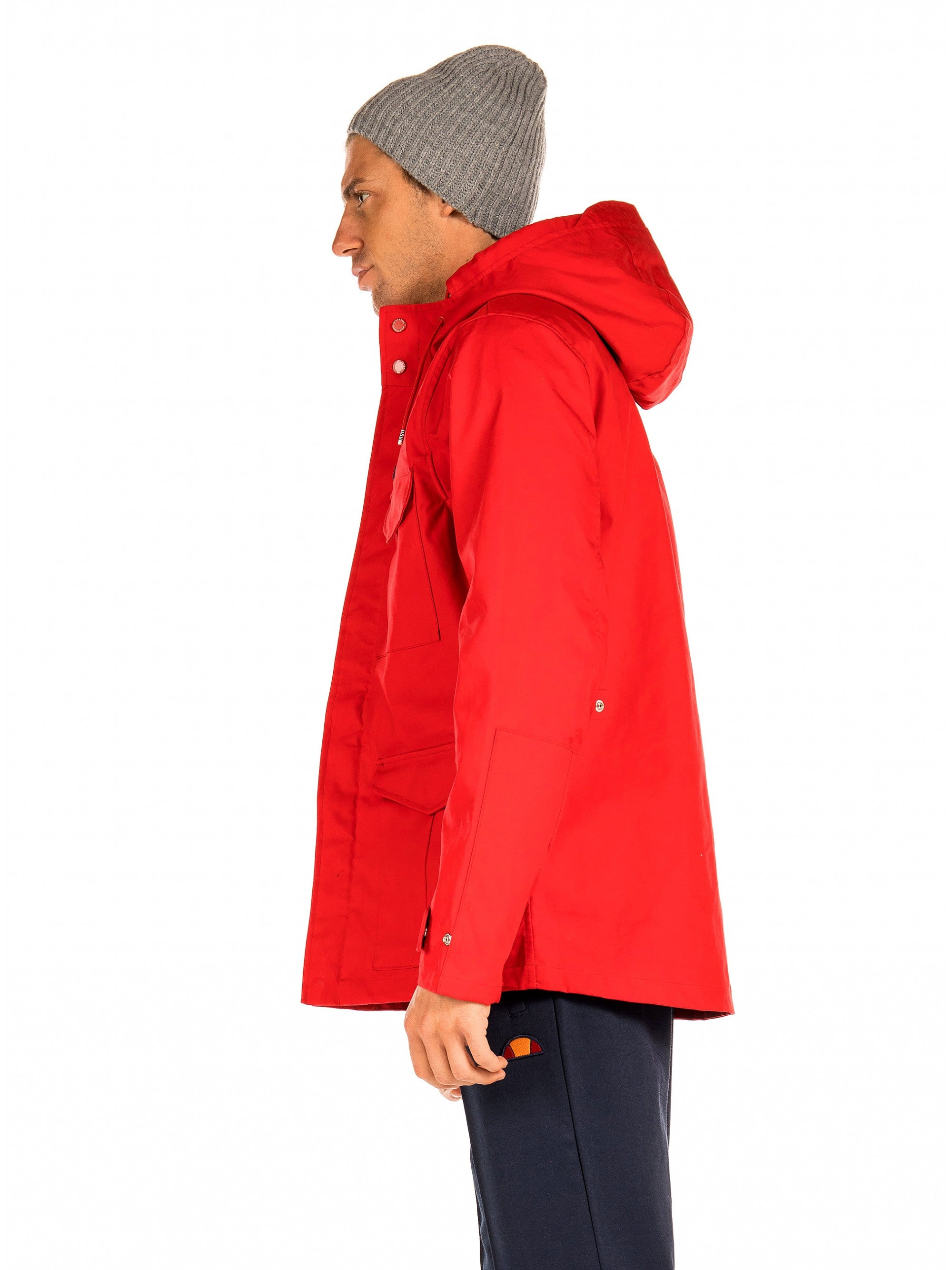 Hooded Long Jacket Red