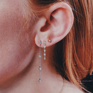Ceejayeff long star diamond chain earring multi Marq diamond dangle earring and long star stud all on a model
